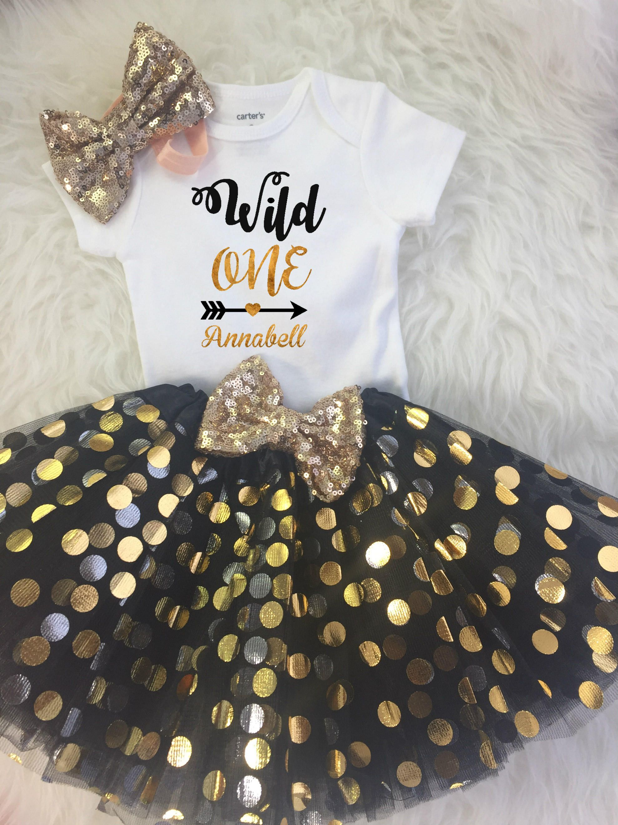 Pink and Gold First Birthday Tutu Dress Funmunchkins Personalized 1st Birthday Girl Outfit