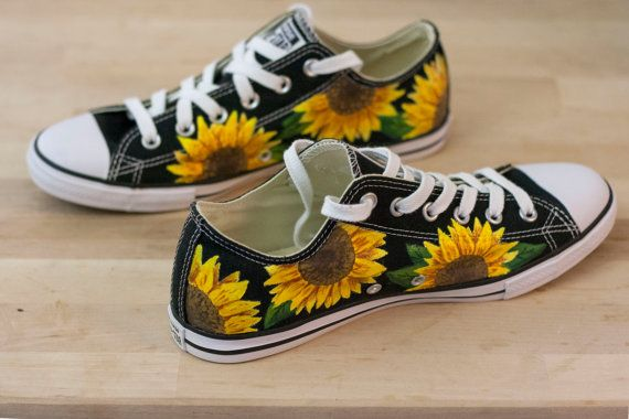 8a185b43a1e4 These custom painted authentic Converse All-Star low top sneakers feature a  colorful Sunflower floral print design. This design is hand-painted using  ...