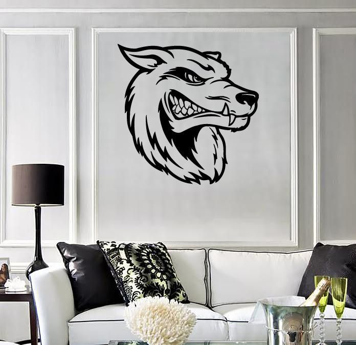 Wall Stickers Vinyl Decal Wolf Head Tribal Predator Hunting Trophy (ig765)