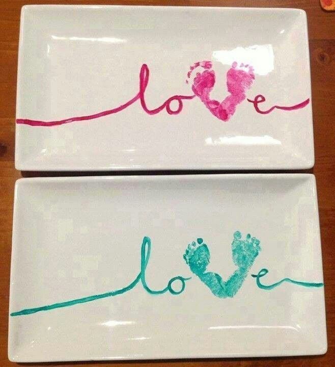 For Brandy Love Baby Footprint Craft Idea Gift Mum Buy Platter Of Choice From Spotlight Along With Ceramic Paint Scroll The Letters And Use Your