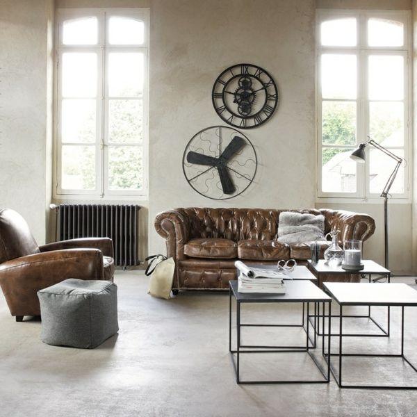 Industrial chic wohnzimmer  Wohnzimmer einrichten- modernes Designer Sofa aus Leder | Ideen ...