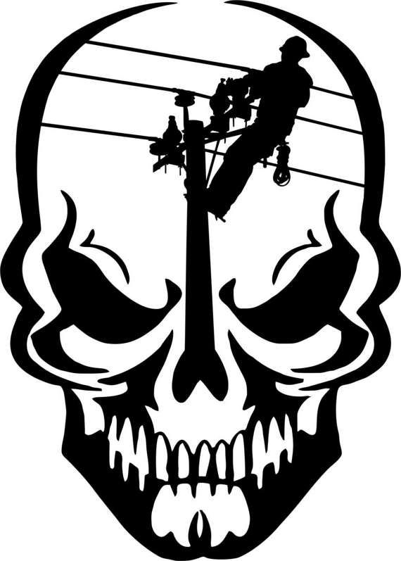 Lineman Skull Electrician Linemen Power Pole Car Truck
