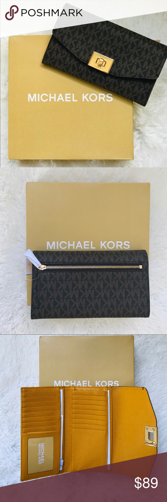 8ff0c19b3472 Michael Kors Cassie MK Signature Trifold Wallet Order now ❗ Same day  shipping ✅ Make