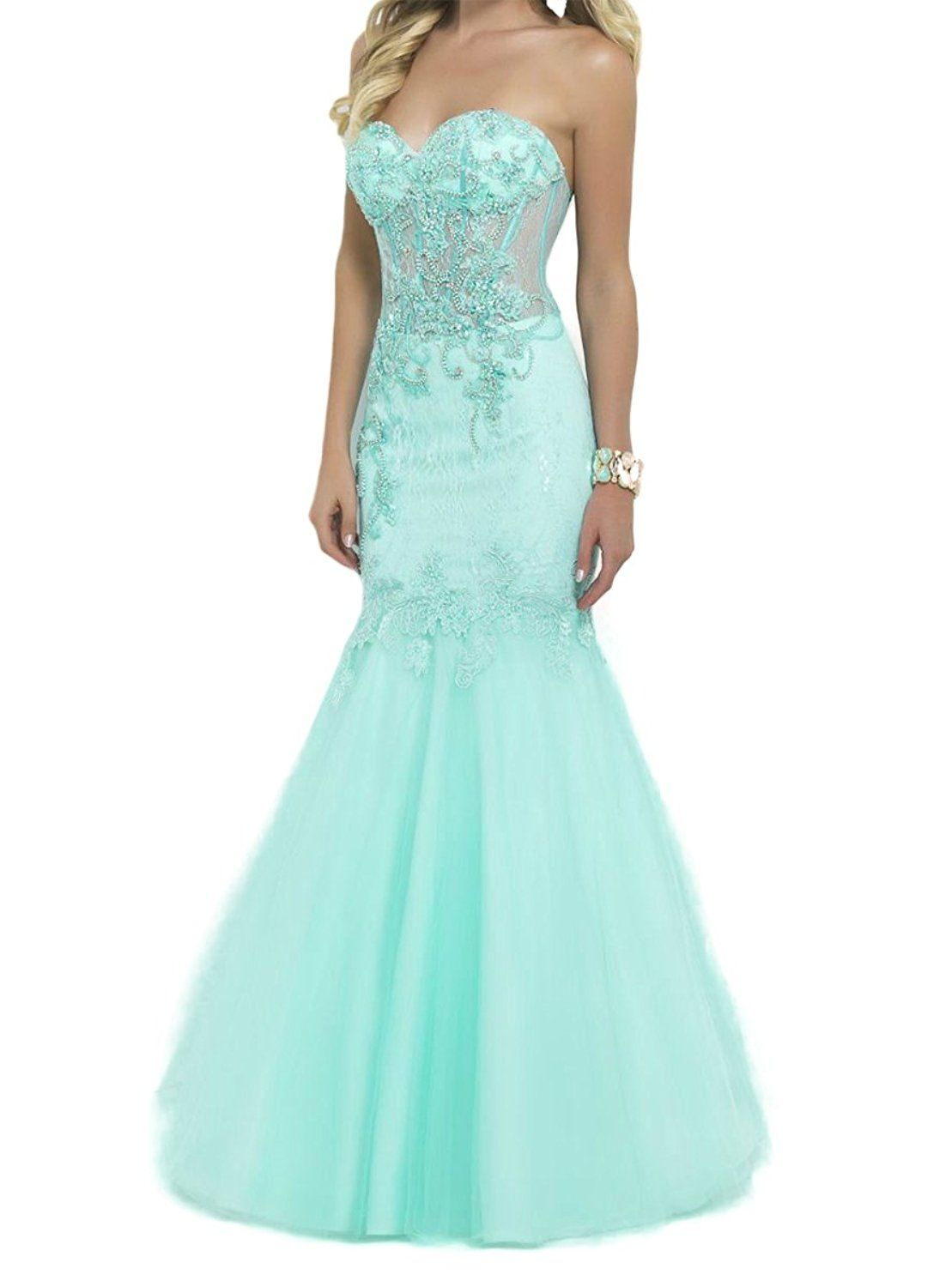 Sdress womenus beaded lace appliques sweetheart illusion bodice long