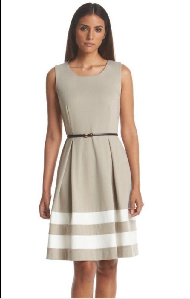 Calvin Klein Women\'s Khaki Ponte Stripe Fit and Flare Dress Size 8 ...