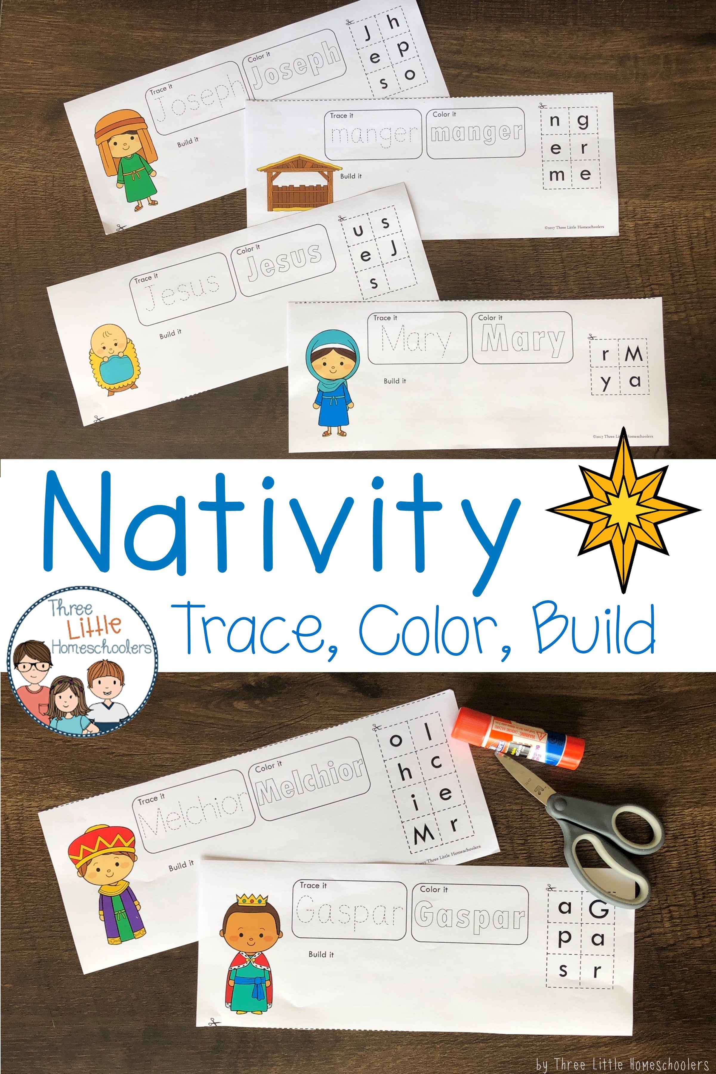 Christmas Nativity Trace Color Build Writing Center