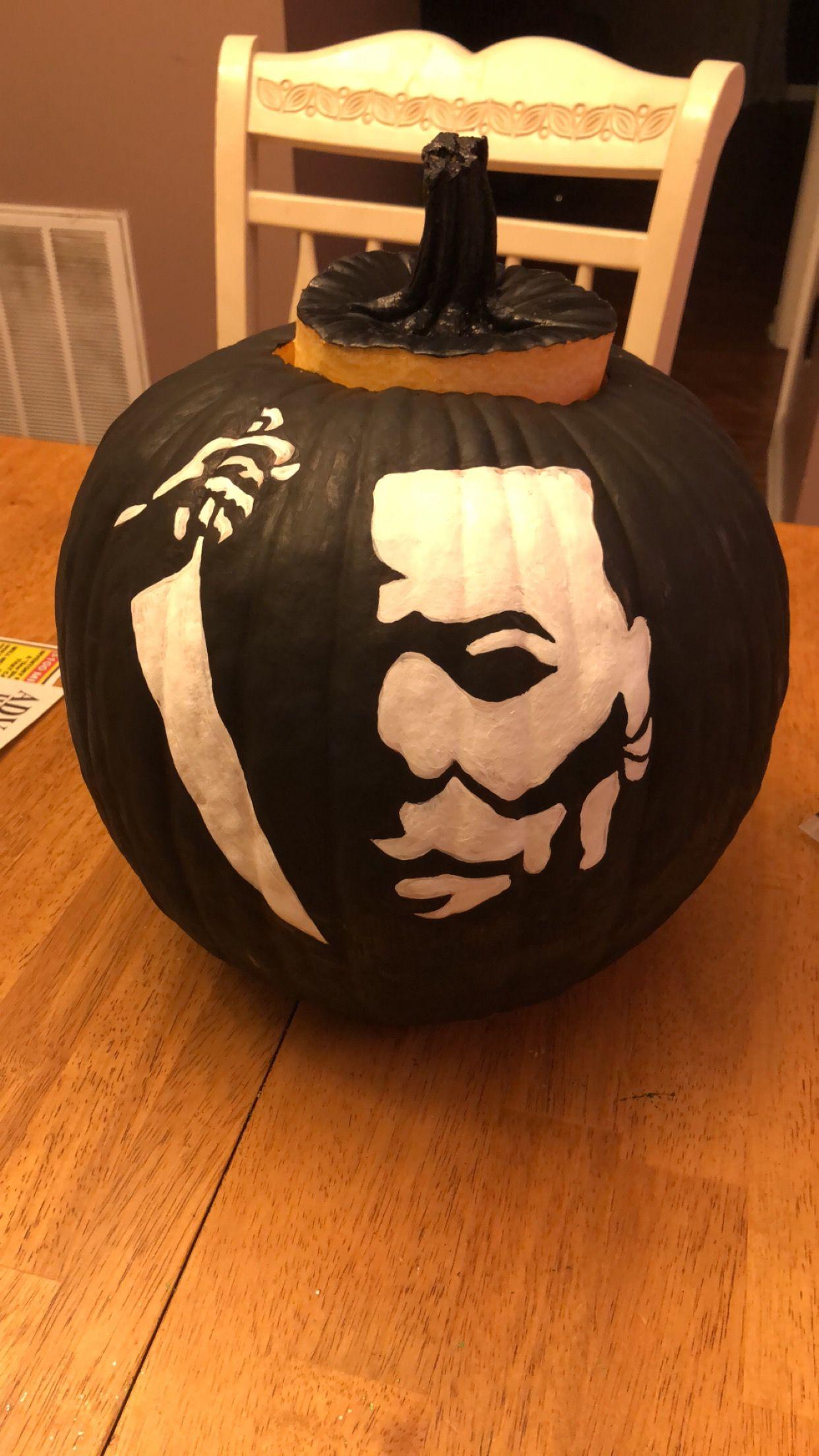 Halloween Michael Myers painted pumpkin Painted pumpkins