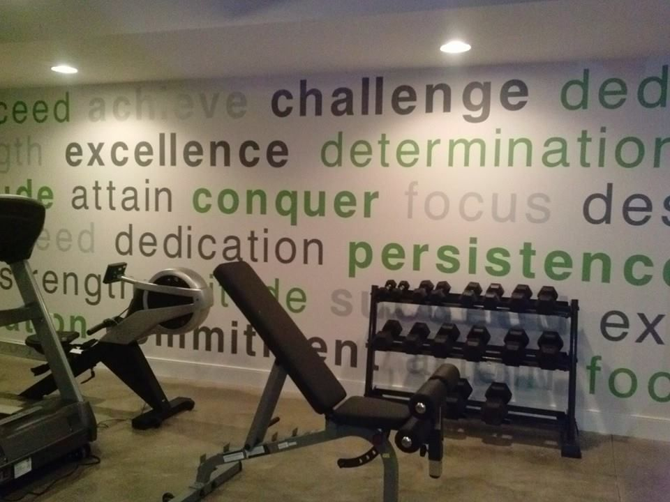 exercise room wall decal | easy accent wall ideas | pinterest