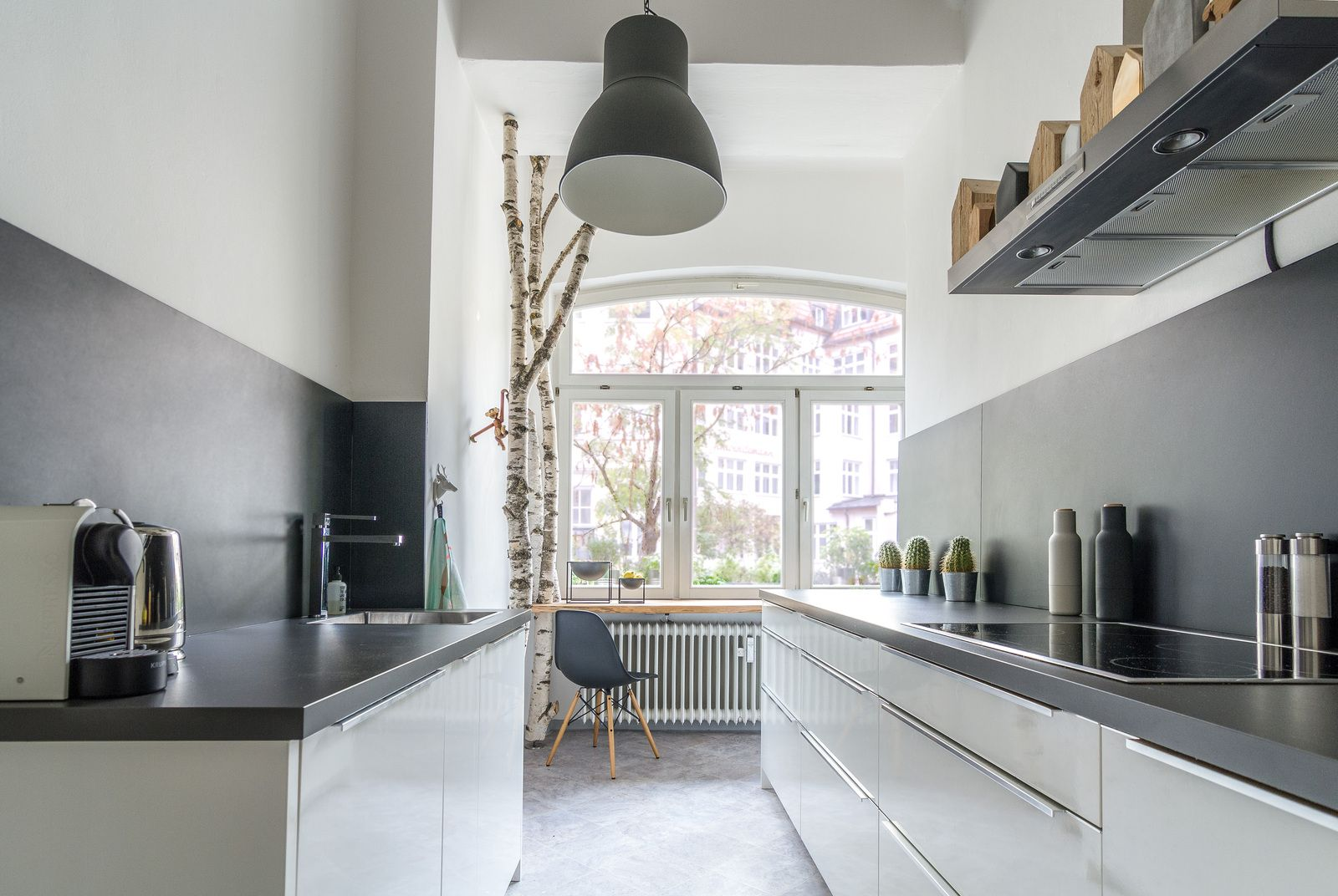 Kitchen with trees. Black & White