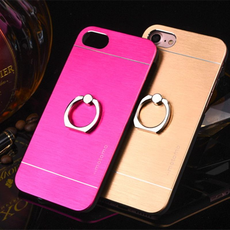 Luxury Metal Brush Hard Case With Ring And Standholder For iphone 5S 5G SE 6 6S 6S Plus Aluminum Back Cover