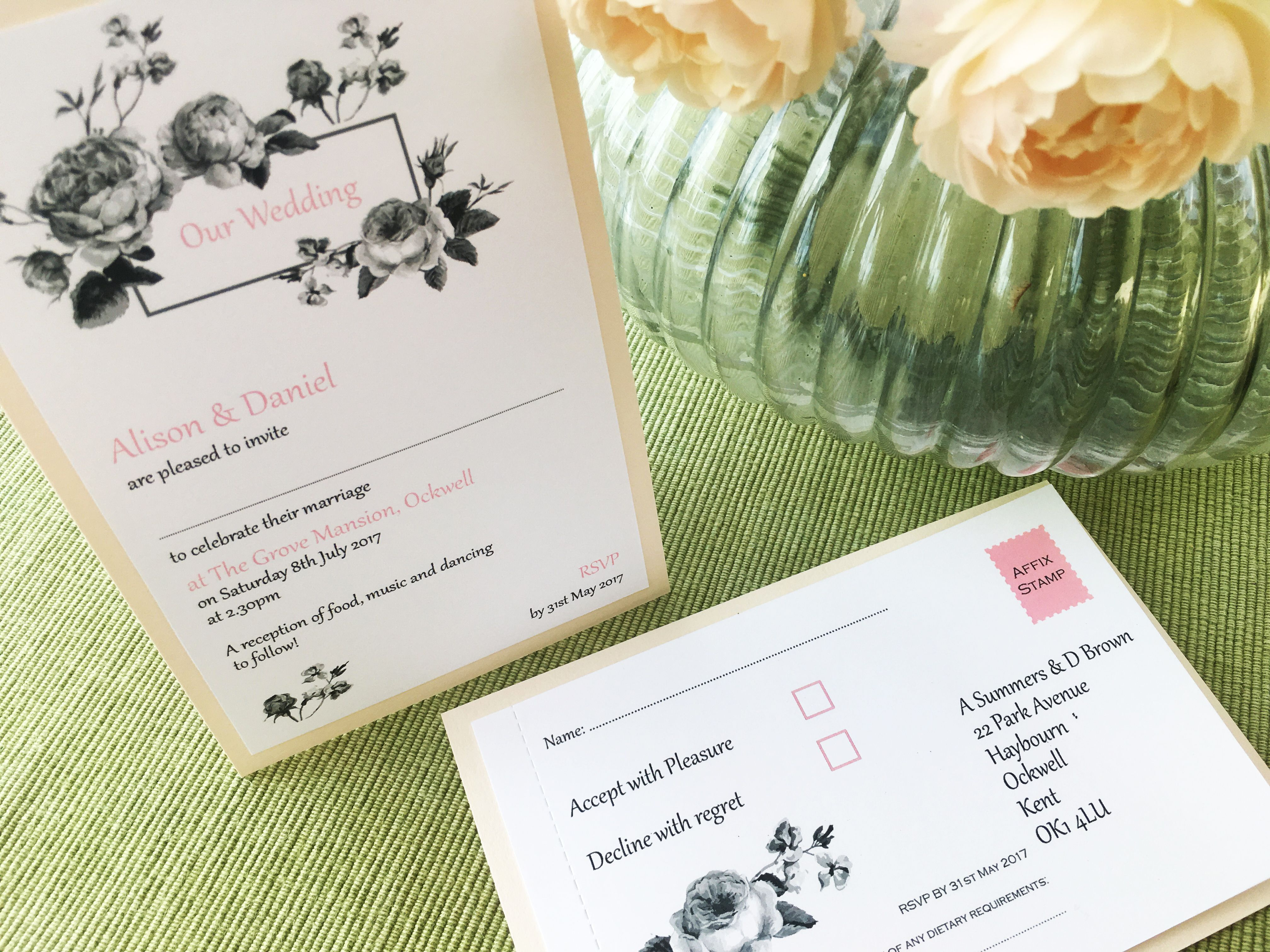 Pure Simplicity Lucien botanical rose wedding invitation and ...