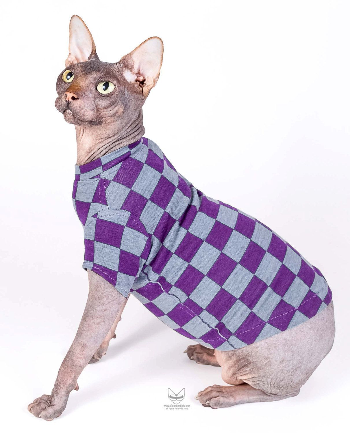 Sphynx Cat Clothes Holiday Pet Fashion Checkered Short Sleeve