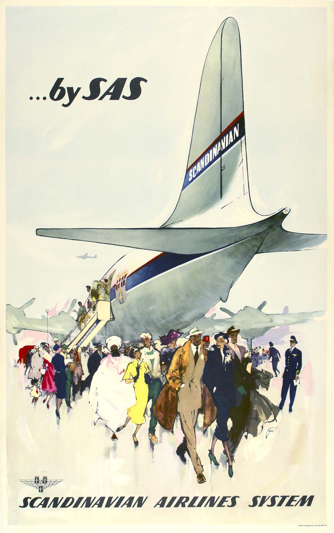By Sas Year 1946 Artist Otto Nielsen Travel Posters Vintage Travel Posters Vintage Airline Ads