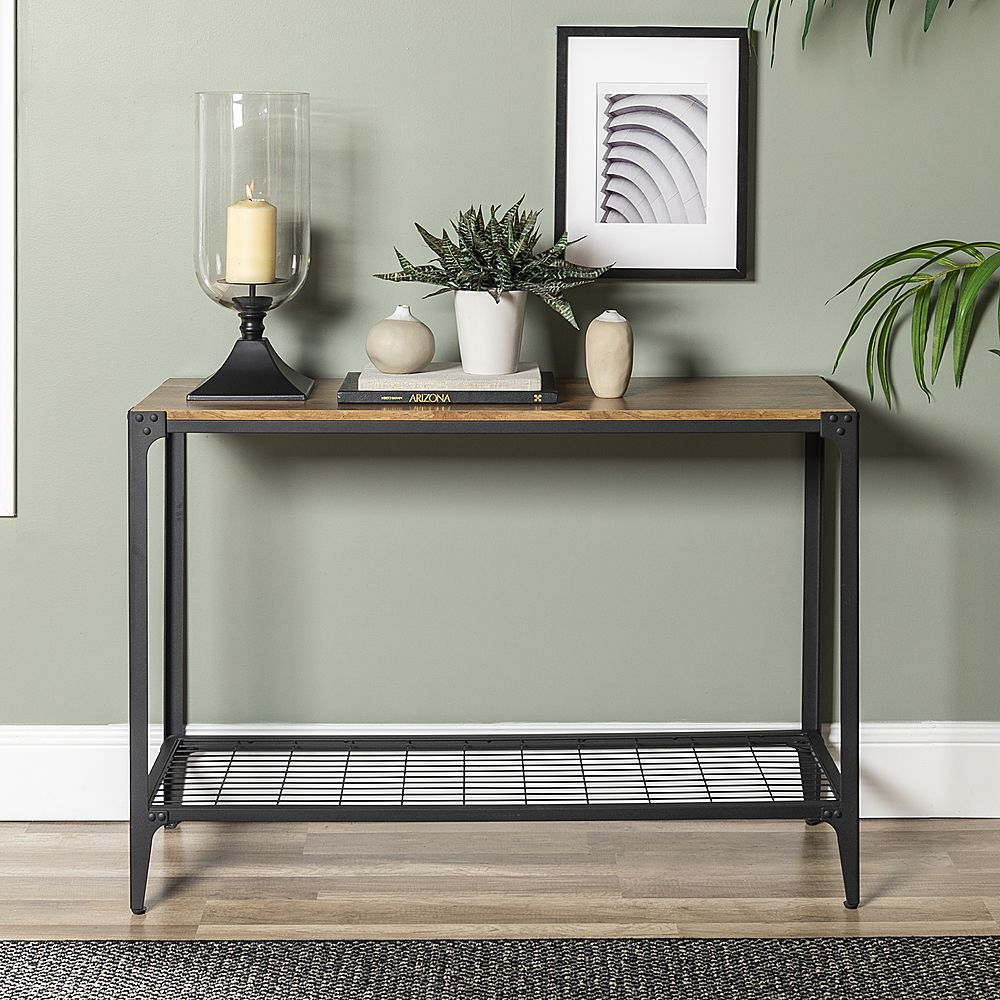 Walker Edison Angle Iron Accent Sofa Table Barnwood Bb44aietbw Best Buy In 2021 Oak Console Table Console Table Accent Furniture Living Room