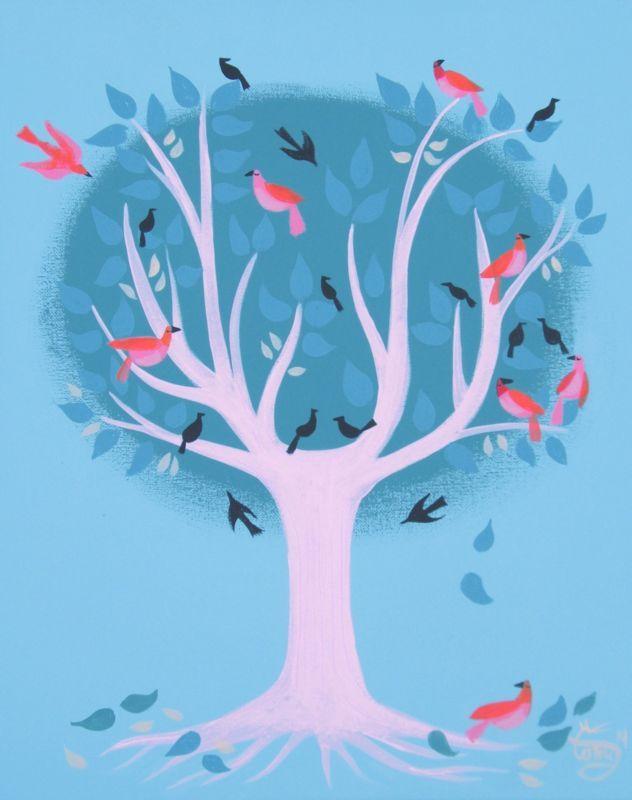 EL GATO GOMEZ PAINTING RETRO MID CENTURY MODERN EAMES ERA TREE BIRD ILLUSTRATION