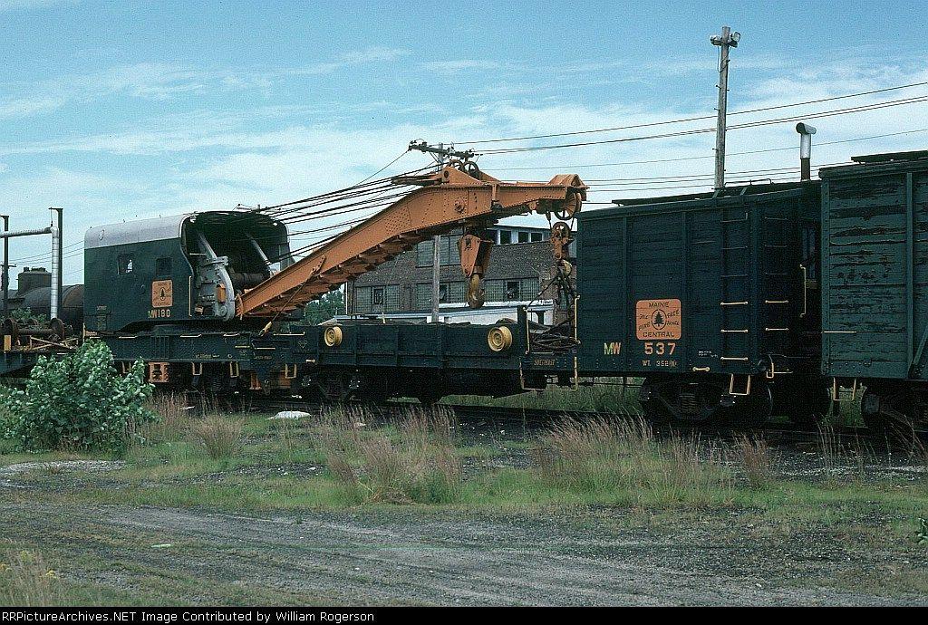Maine Central Railroad (MEC) MoW Crane No. MW180 and Boom