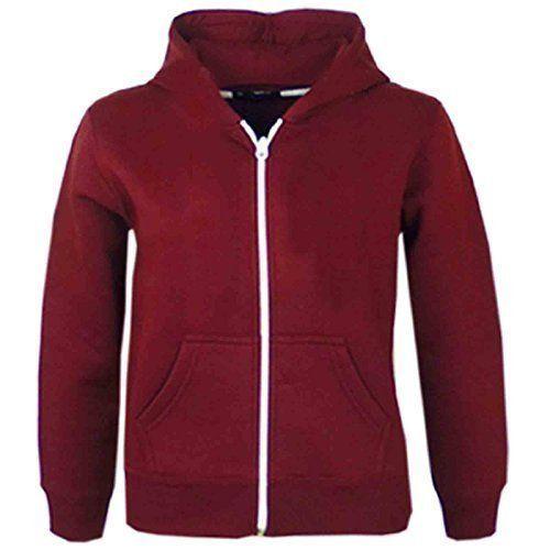 58996a832 Kids Girls   Boys Plain Fleece Hoodie Zip Up Style Zipper Jacket Age ...
