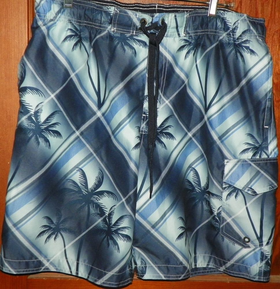 3ace82d362 Sonoma Board Shorts Swim Trunks. Pattern: tropical with palm trees. Colors:  blue and gray. | eBay!