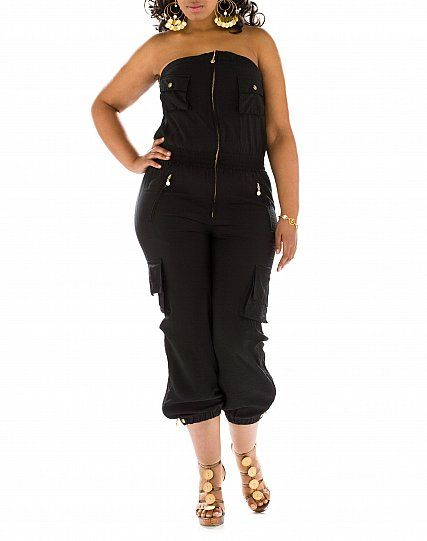 cargo cuffed strapless jumpsuit from baby phat plus size