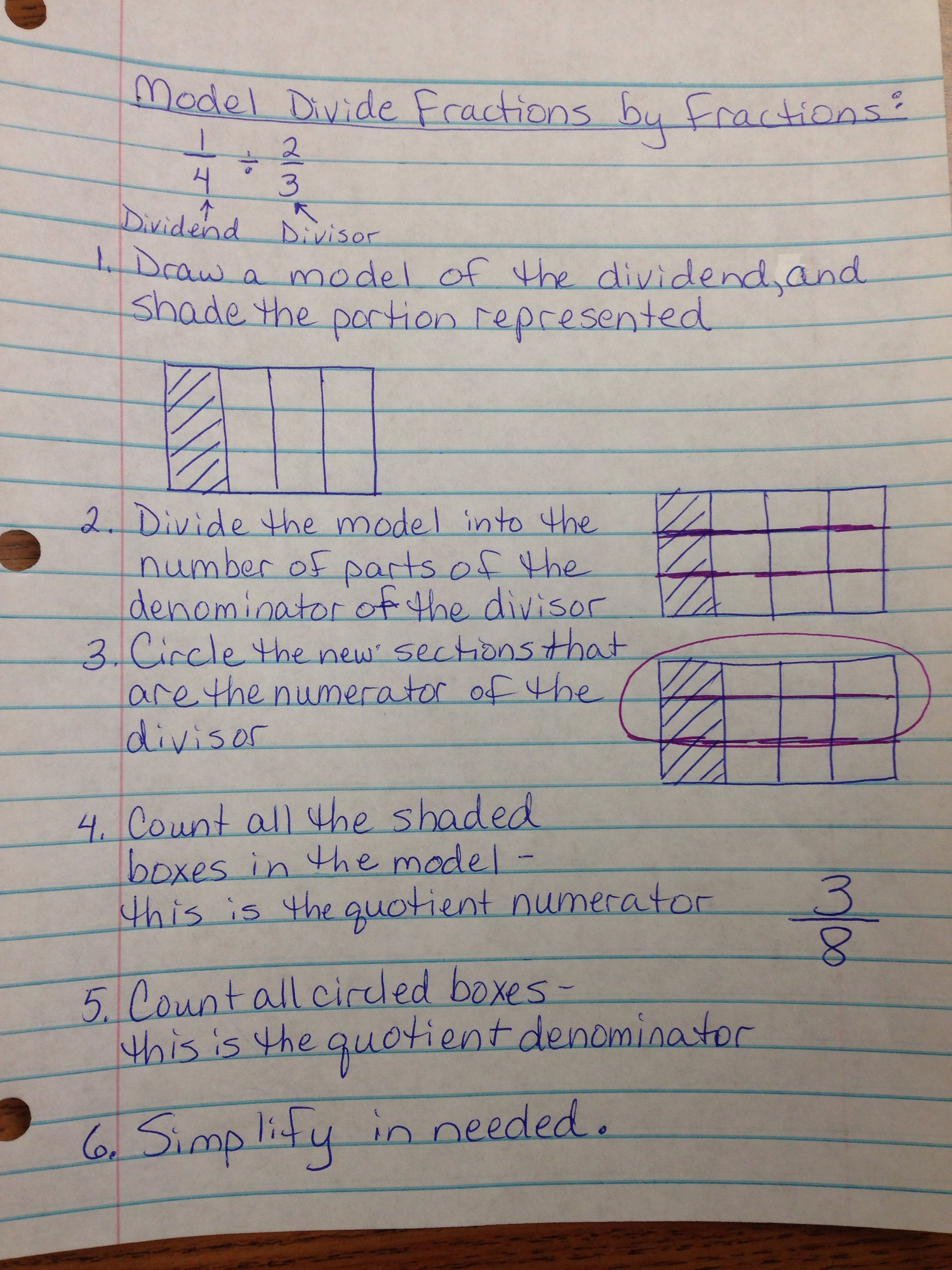 Model Dividing Fractions For Common Core