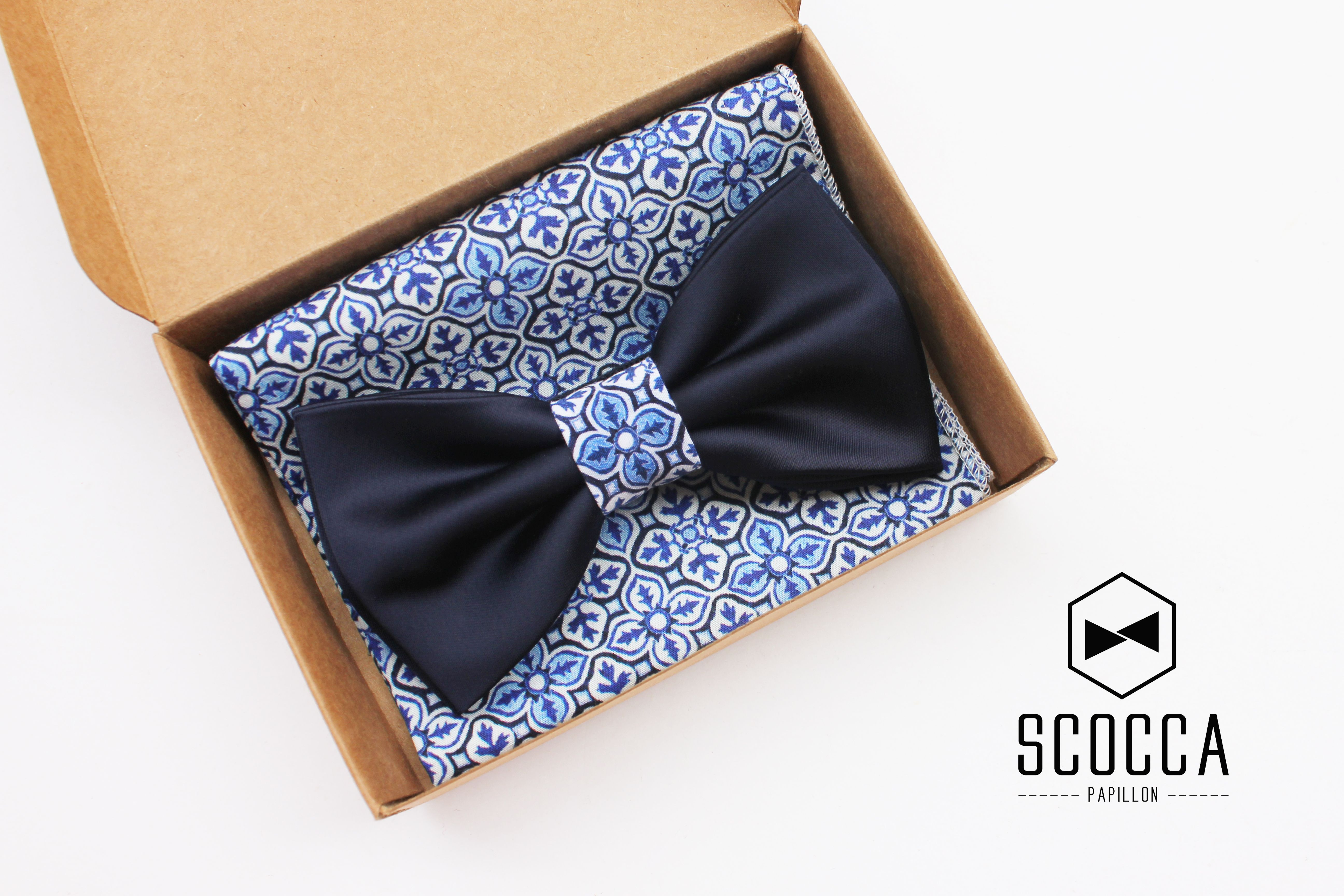 Photo of Blue Bow tie and Pocket Square Majolica style, Papillone shell …
