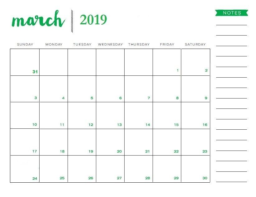 graphic regarding Calendar Notes titled March 2019 Printable Calendar With Notes #MarchCalendar