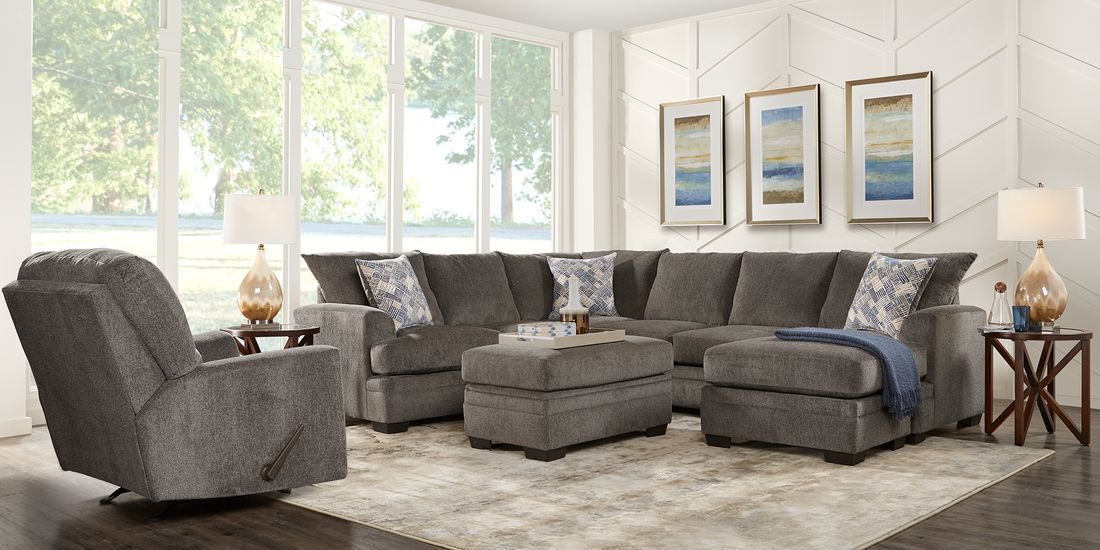 Harold Square Pewter 2 Pc Sectional Rooms To Go Living Room