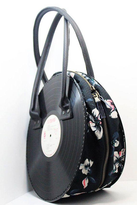 Vinyl Records Bag Vinyl Handbag Handmade Purse Vinyl