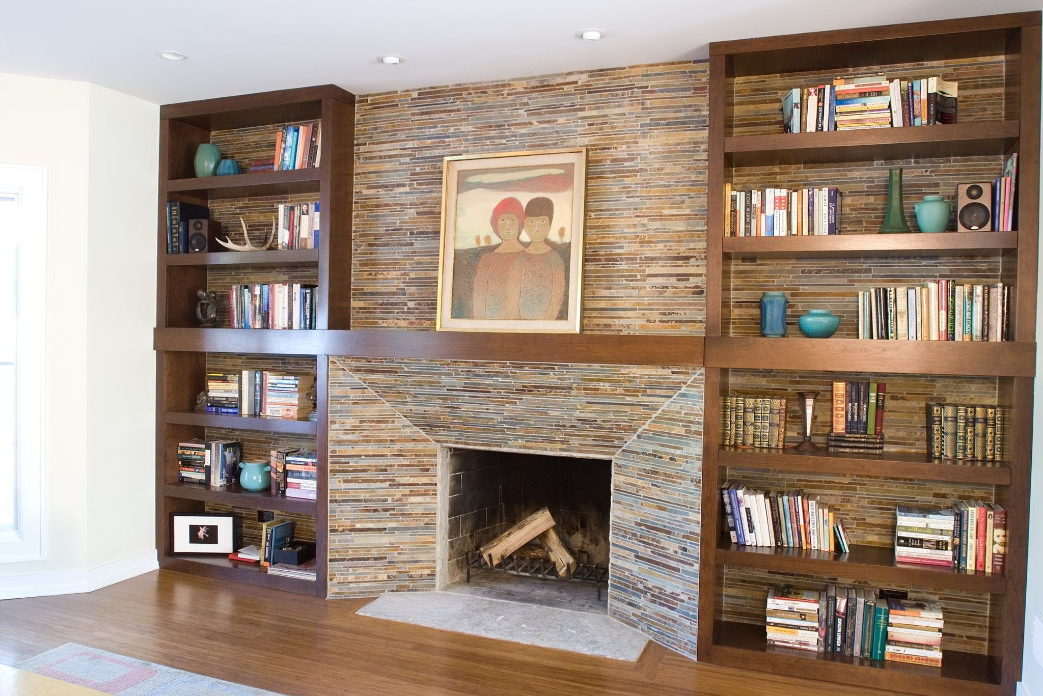 bookshelves around fireplace Google Search Lounge
