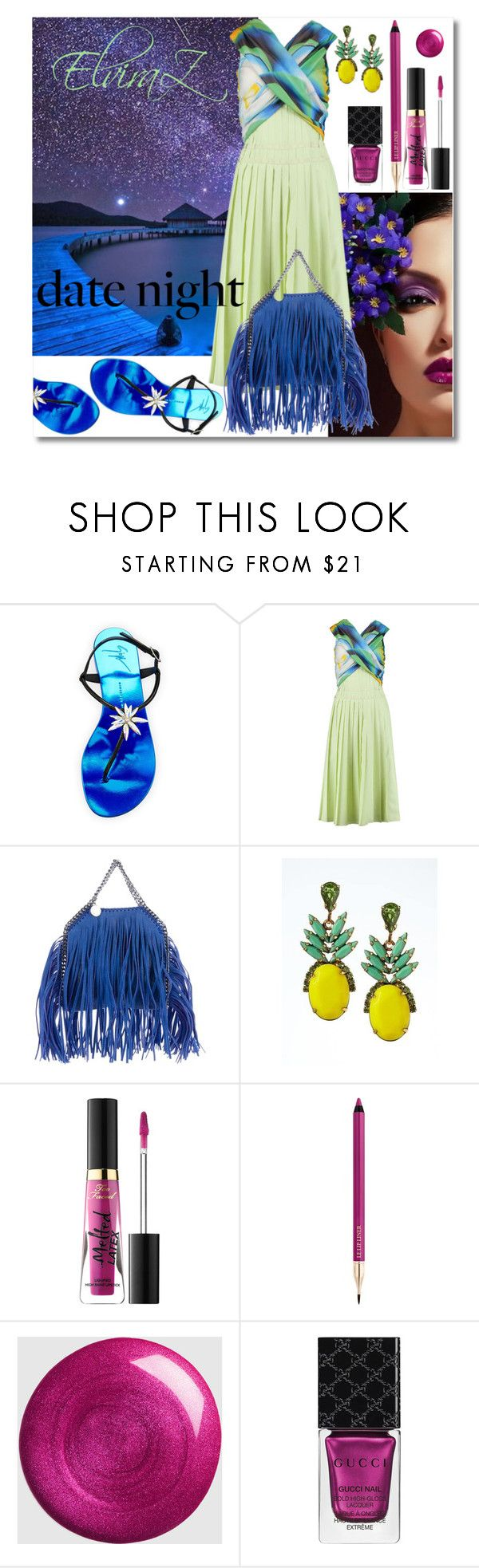 """""""Date Night"""" by elza76 ❤ liked on Polyvore featuring Giuseppe Zanotti, Vionnet, STELLA McCARTNEY, Banana Republic, Too Faced Cosmetics, Lancôme and Gucci"""
