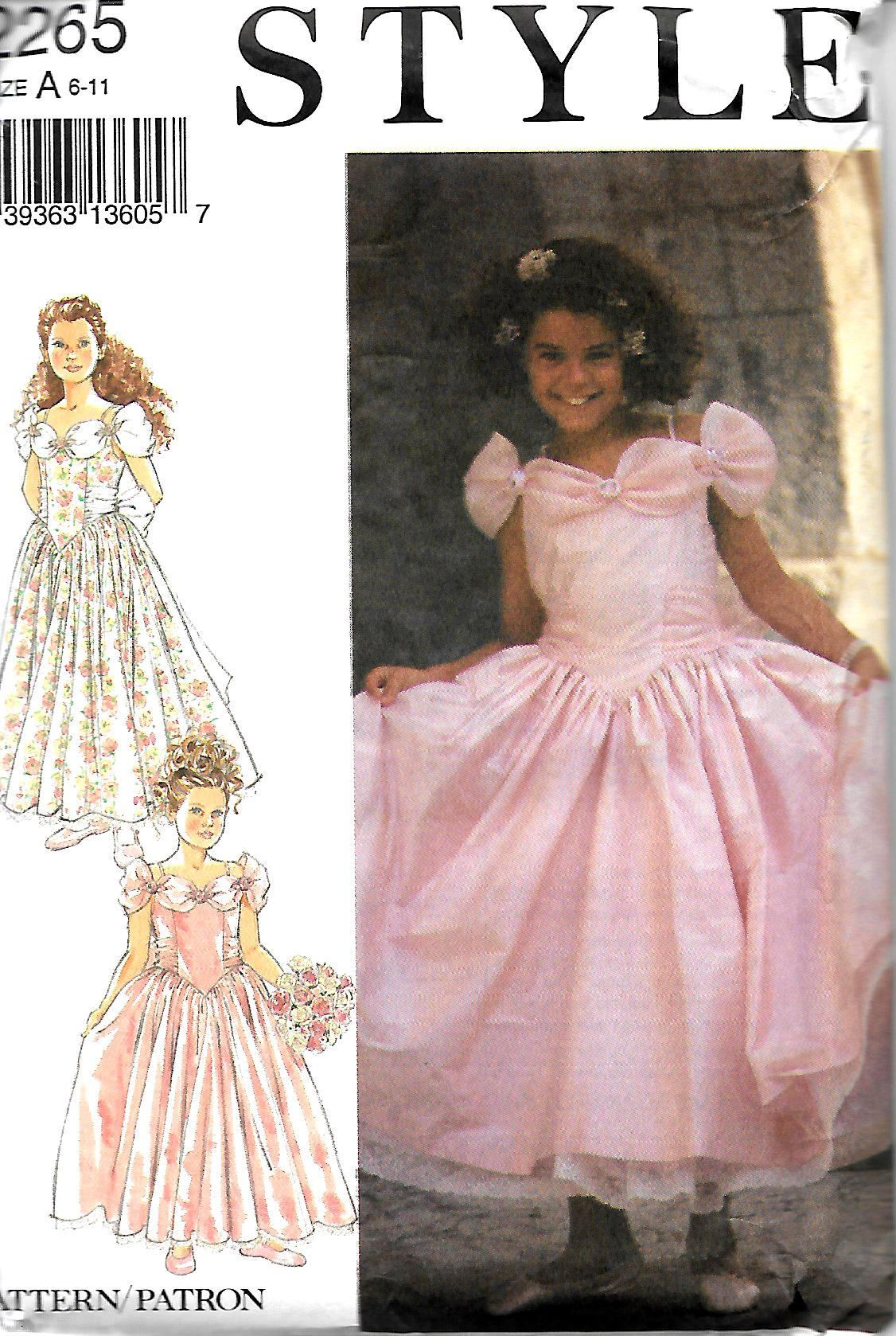 Style 2265 Girls Bridesmaid Flower Girl Dresses Pattern, Size 6-11 ...