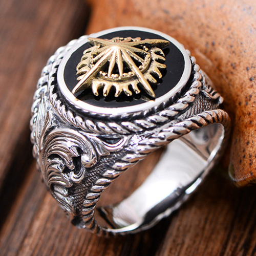 Mens Sterling Silver Golden Cross Ring
