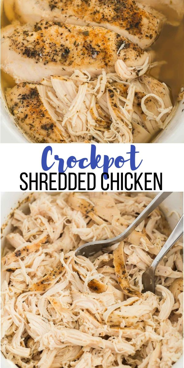 This Crockpot Shredded Chicken is easy, flavorful and a great way to meal prep for the week ahead! How to make shredded chicken in the slow cooker including tips, tricks and shredded chicken recipes. #chicken #chickenbreast #healthy #healthyrecipe #dinner #recipe #crockpot #slowcooker #crockpotmealprep