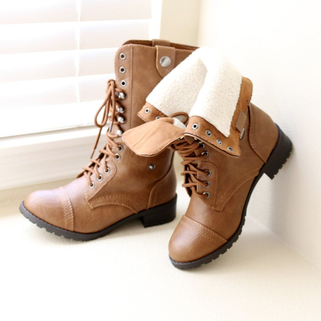 """Style : Mid Calf Boots Heel Height : 1 1/4"""" Color : Tan ..."""