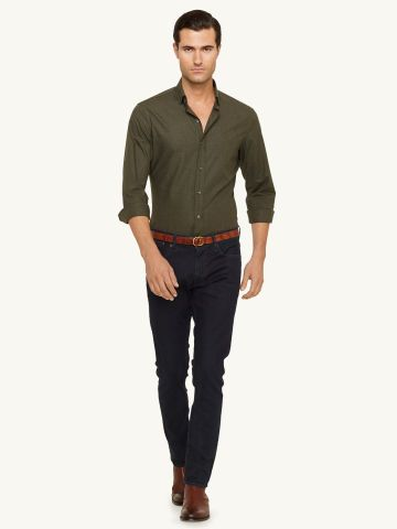 men's fashion / olive green shirt   jeans outfit l #mens | Fashion ...