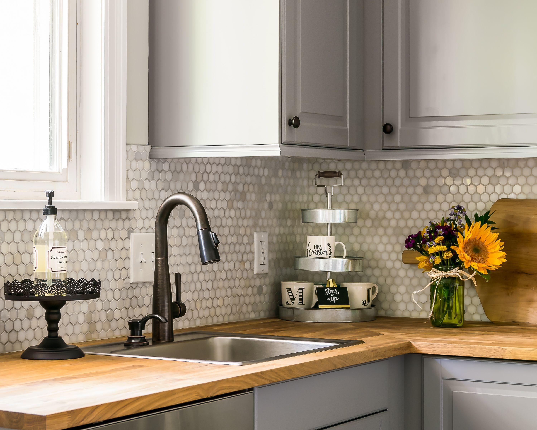 Modern Farmhouse Kitchen Herringbone Backsplash