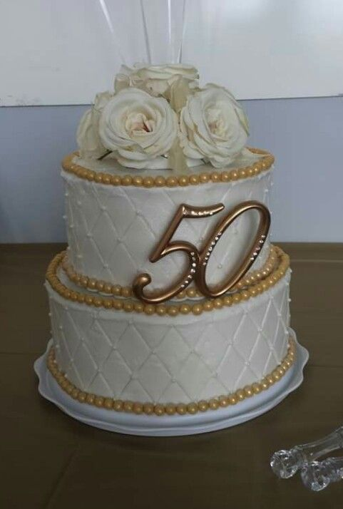 50th Wedding Anniversary Cake With Gold Accents And Quilt