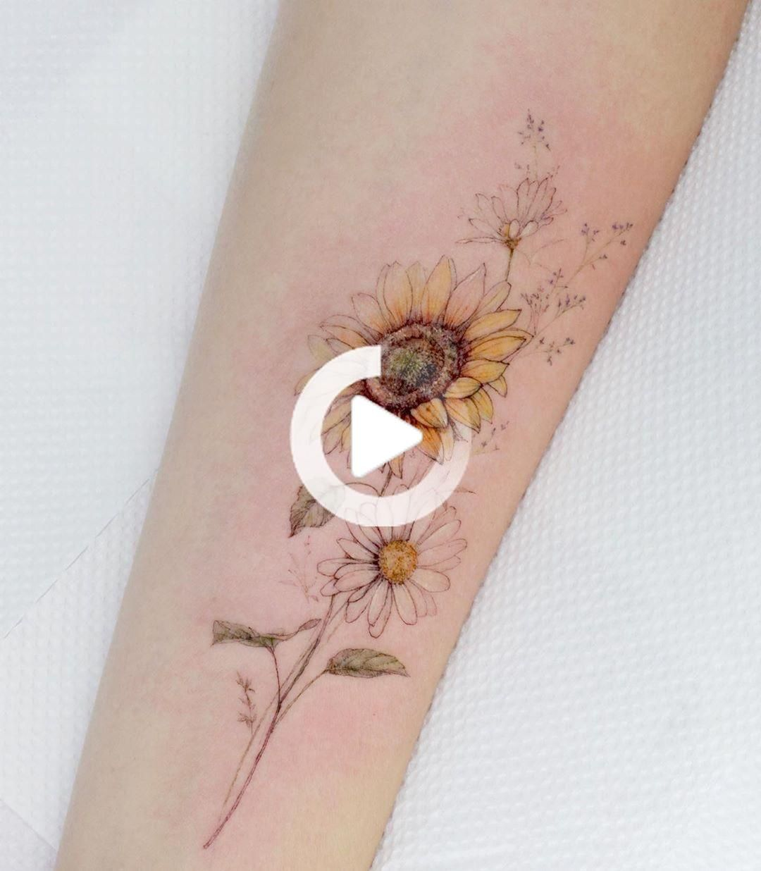Sonnenblumen Gänseblümchen… in 2020 Sunflower tattoos