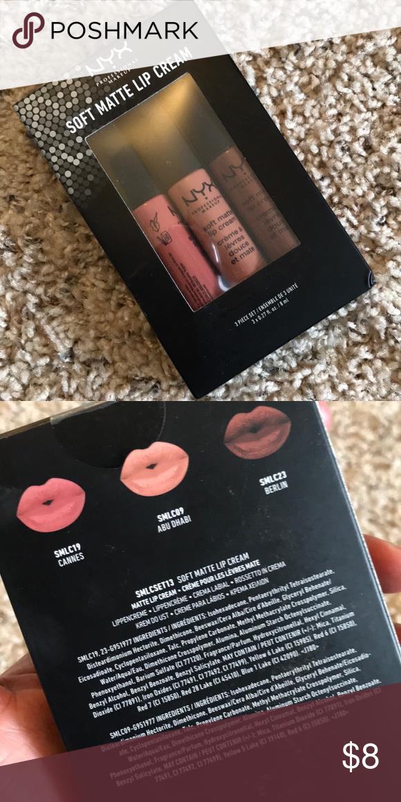 NYX Soft Mate Lip Cream 3pc kit Brand new never