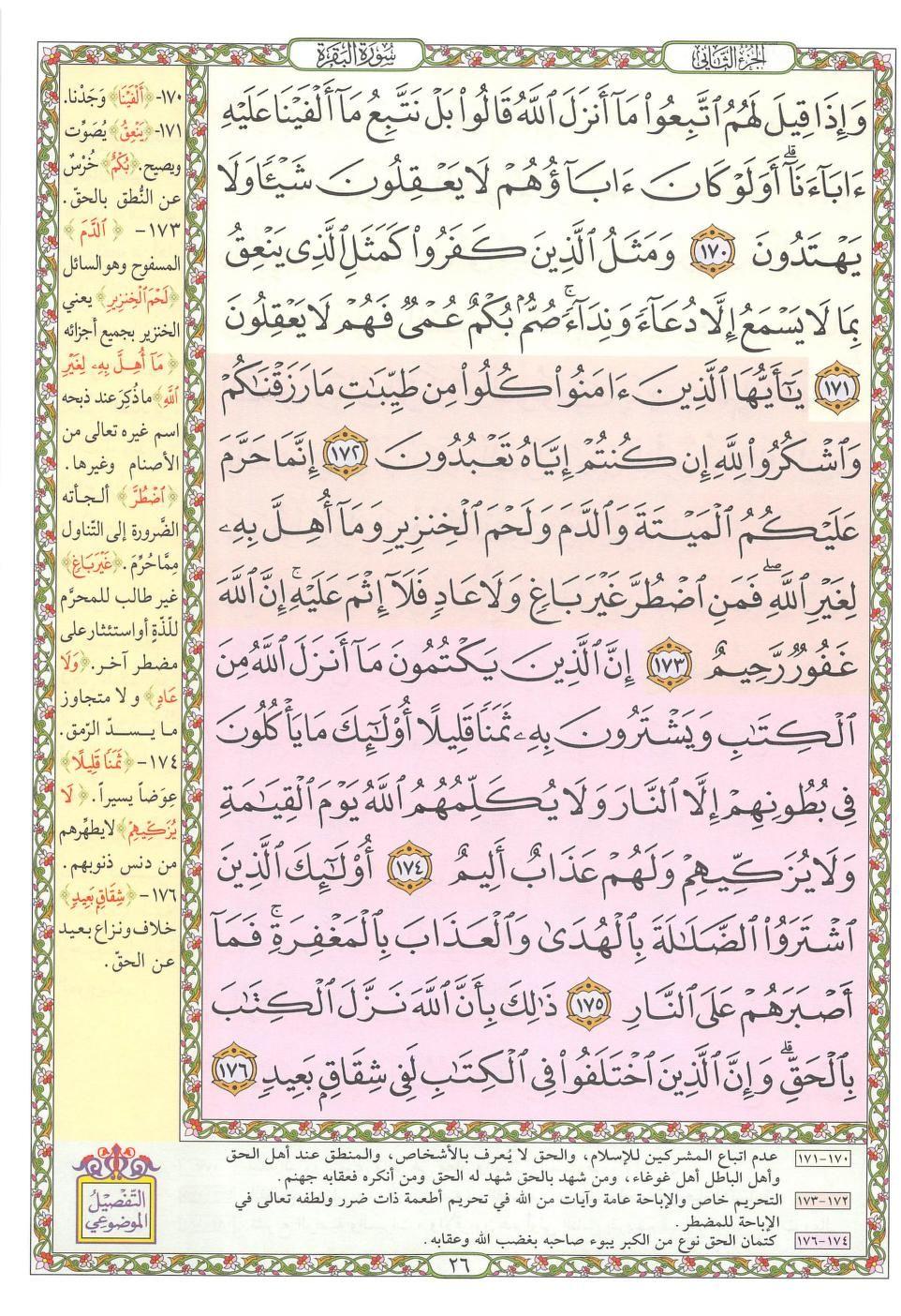 ١٧٠ ١٧٦ البقرة مصحف التفصيل الموضوعي Quran Verses Bullet Journal Verses
