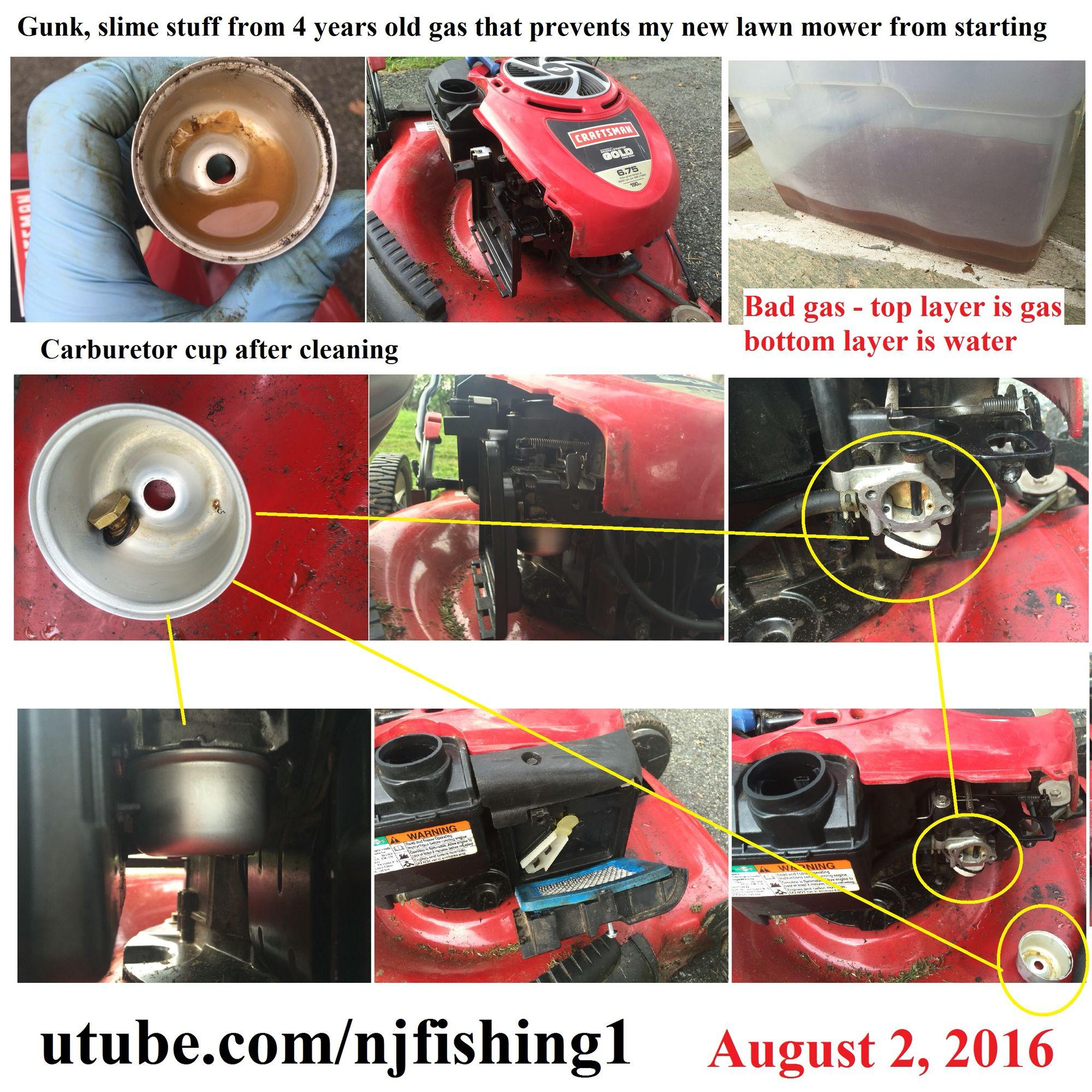 Craftsman Briggsandstratton Lawnmower Won Tstart Diyfix By Cleaning The Carburetorcup Badfuel With Gunk And Water Sittin Lawn Mower Lawn Care Cleaning