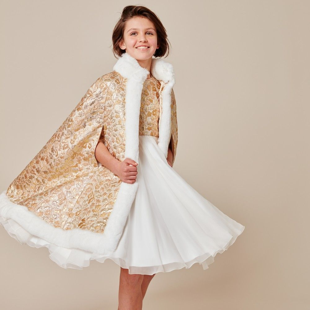 19ea8072c Girls beautiful gold brocade and white silk dress by Dolce   Gabbana ...