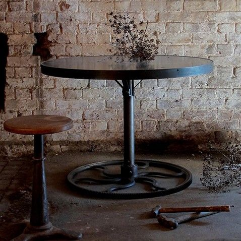 Bespoke industrial cog base round table using reclaimed industrial ...