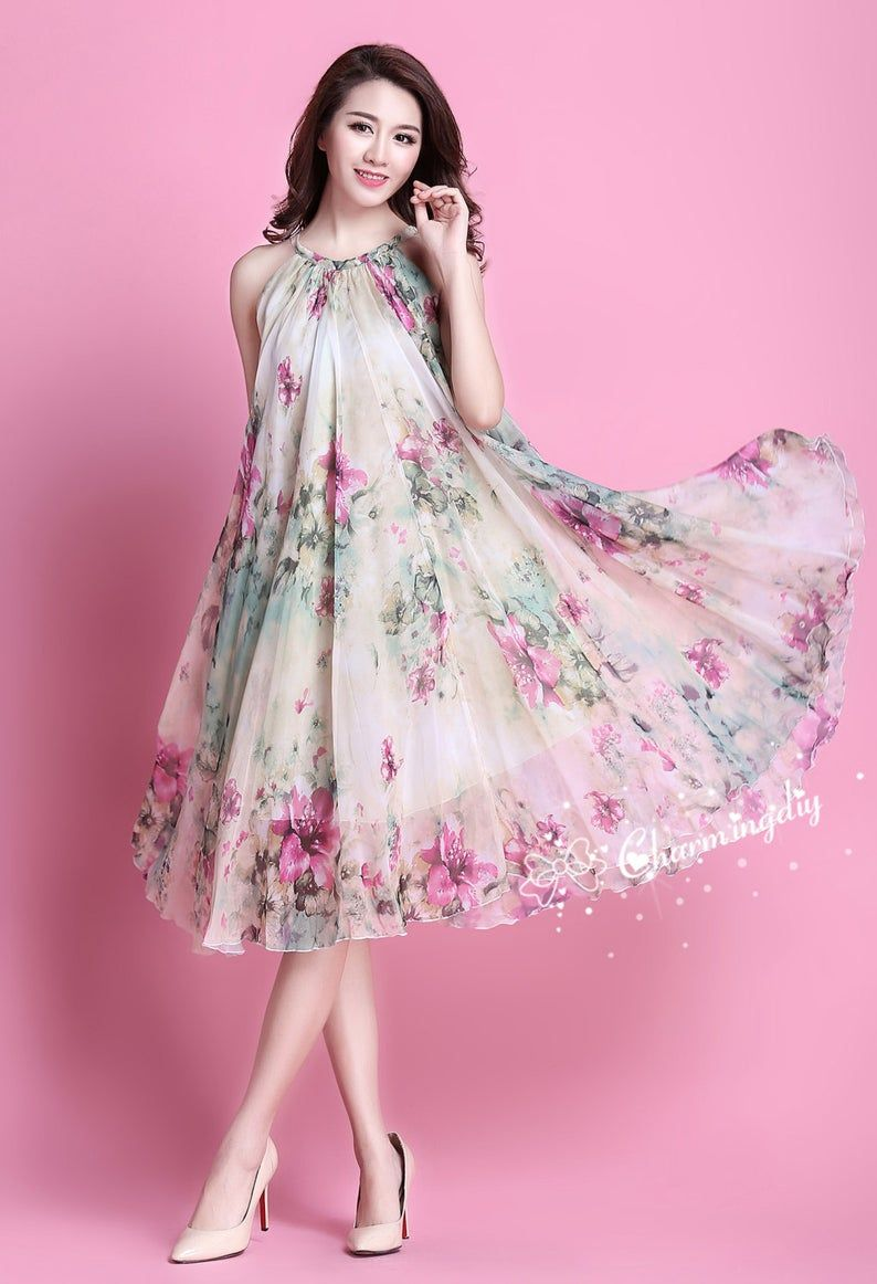 90 Colors Chiffon Green Pink Flower Knee Party Evening