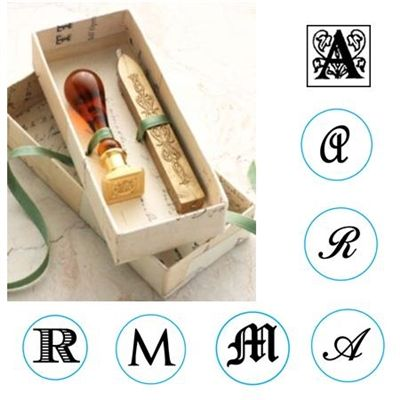 Wax Seal Kit -Initial with Murano Glass Handle & Gold Sealing Wa