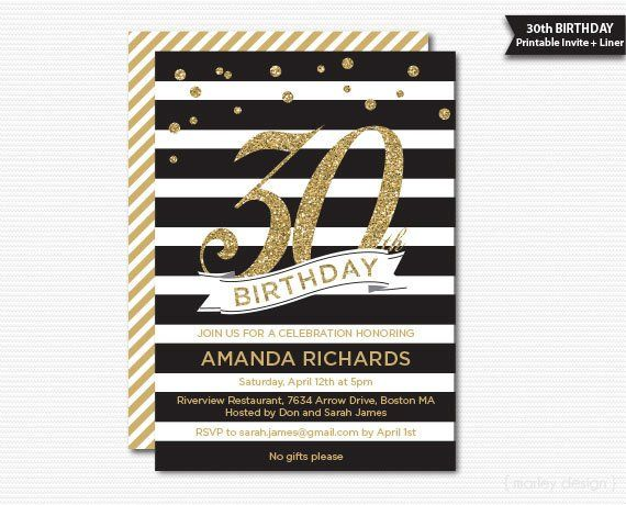 Gold And Black 30th Birthday Printable Invitation Milestone DIY Invite Glitter Glam S