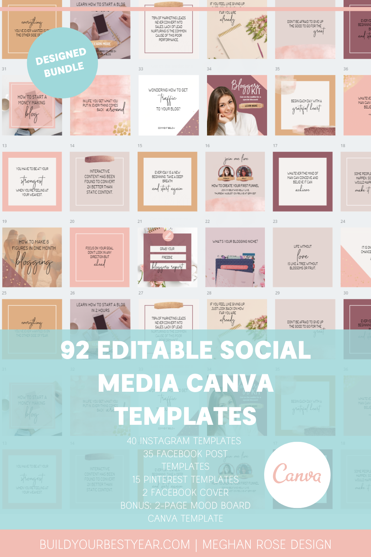 20 Semi Editable Social Media Canva Templates Bundle   Etsy in ...