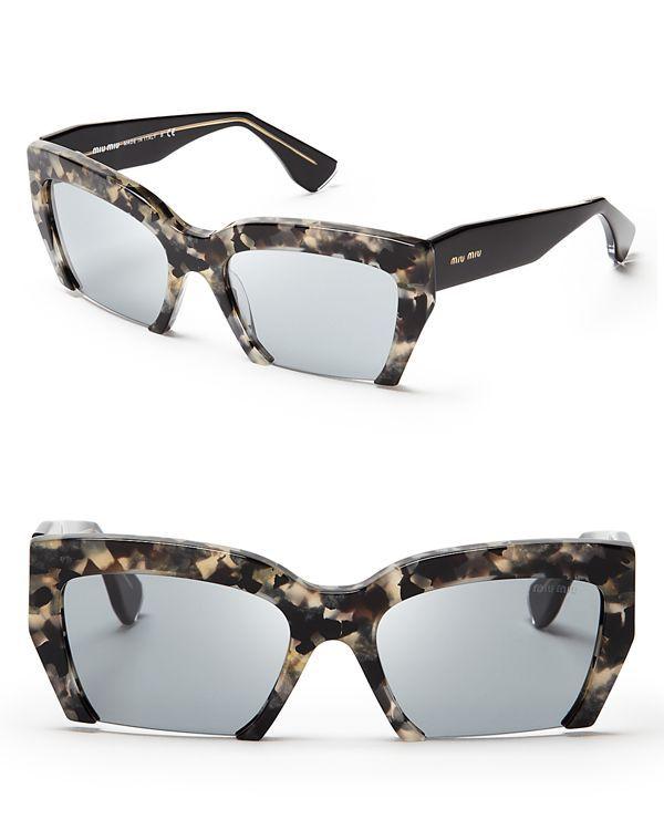 Miu Miu Semi-Rimless Geometric Sunglasses