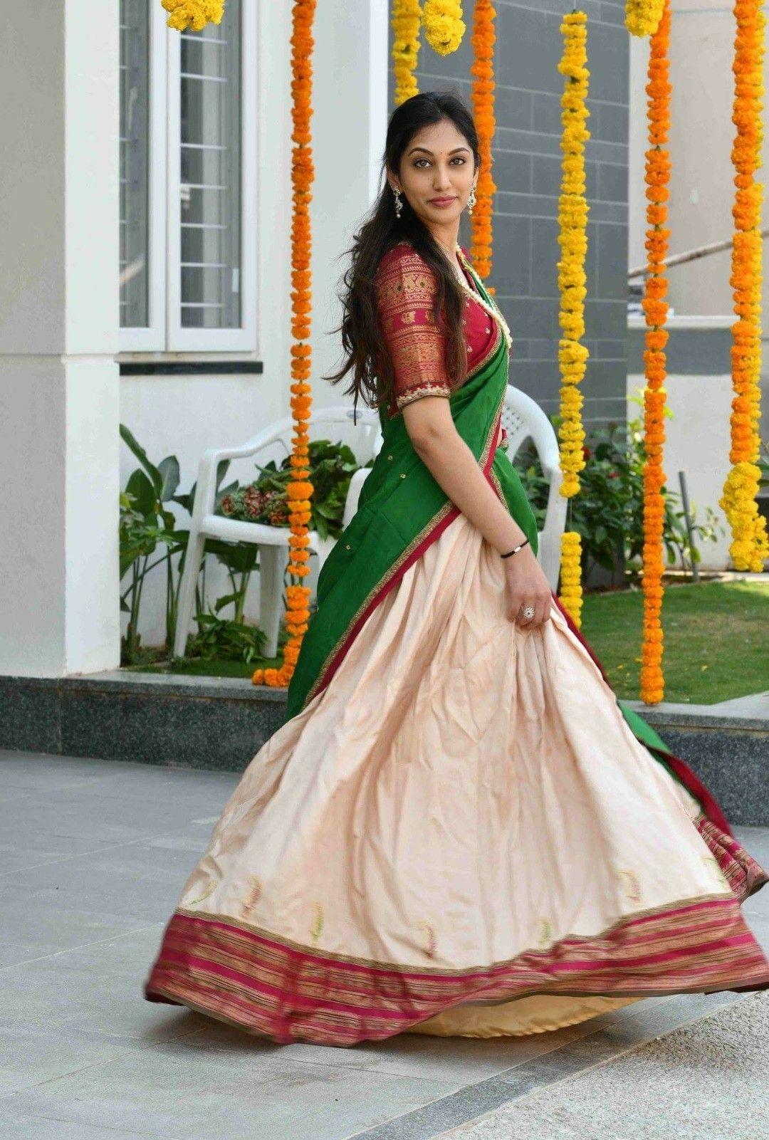 Pin By Anera On Awesome Half Saree Designs Half Saree Lehenga Saree Dress