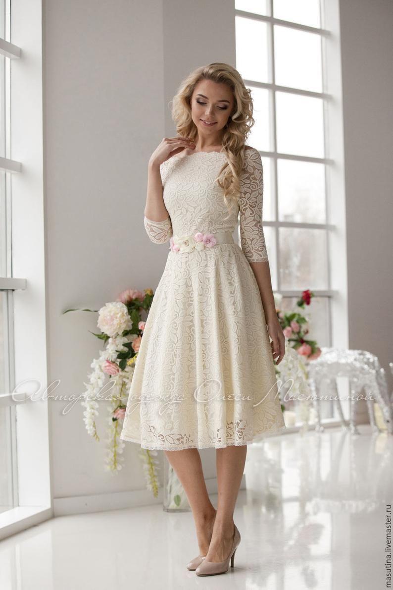 Wedding dress. Delicate laced dress Milk milky Etsy